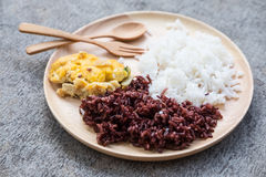 Thai Riceberry Rice and Thai Jasmine Rice with omelet Royalty Free Stock Images