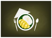 Thai Ripe Mango with Sticky Rice on Chalkboard Stock Images