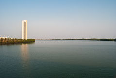 Thai river with building. Royalty Free Stock Photo
