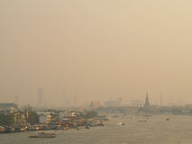 Thai river view in morning mist Royalty Free Stock Photography