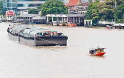 Thai Riverboat with Sand Boat Stock Photo