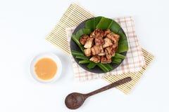 Thai roasted banana with sweet sauce stock photo