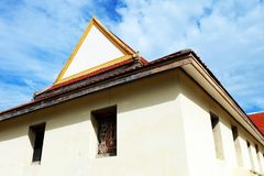Thai Roof Buddhist Temple Art Style Construction with Blue Sky Clouds of Thailand Stock Images