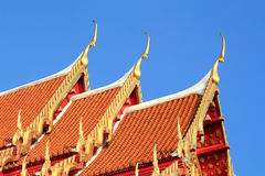 Thai roof church at Thai temple Stock Photos