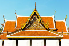 Thai roof Roof in Wat ratchanatdaram temple Royalty Free Stock Photography