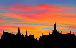 Thai roof silhouette Stock Photography
