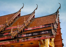 The thai roof temple on sunshine day Royalty Free Stock Image
