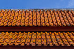 Thai roof tile. Thai classic Clay, ceramic roof Royalty Free Stock Images