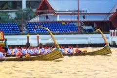 Thai Royal barge in Bangkok. BANGKOK, THAILAND - NOVEMBER 6: Thai Royal barge travel down Chao Phaya river to celebrate King of Thailand 85th birthday (December Royalty Free Stock Photography