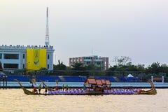 Thai Royal barge in Bangkok. BANGKOK, THAILAND - NOVEMBER 6: Thai Royal barge travel down Chao Phaya river to celebrate King of Thailand 85th birthday (December Royalty Free Stock Photo