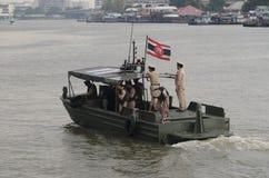 Thai Royal barge in Bangkok. BANGKOK, THAILAND - NOVEMBER 6: Thai Royal barge travel down Chao Phaya river to celebrate King of Thailand 85th birthday (December Stock Images