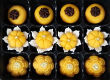 Thai royal dessert, Jha Mong Kut, sweet egg and power with gold Stock Photos