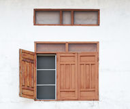 Thai rural-style wood windows Royalty Free Stock Photography