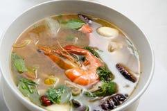 Thais tomyam soup with prawn Stock Photos