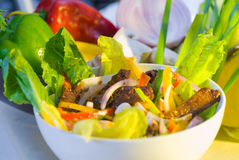 Thai salad. Fresh colorfull thai beef salad on a bowl close up Stock Image