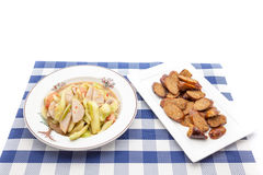 Thai salad with cucumber and spicy sausage. Thai Cucumber Salad Tam Taeng whit spicy sausage Stock Image