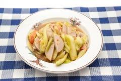 Thai salad with cucumber. Thai Cucumber Salad Tam Taeng whit sausage Royalty Free Stock Image