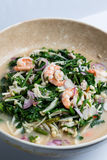 Thai salad mix with Vegetable fern and shrimp Stock Photo