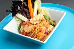 Thai Salad with Shrimp and Seafood Royalty Free Stock Photo
