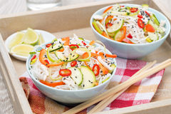 Thai salad with vegetables, rice noodles and chicken Royalty Free Stock Photo