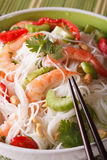 Thai salad yum woon sen macro on a plate. vertical Royalty Free Stock Photos