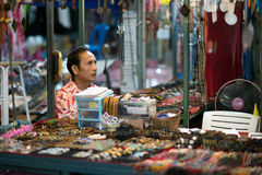 Thai salesman at the Night Market in Hua Hin Royalty Free Stock Photo