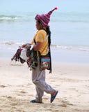 Thai saleswoman on the beach Royalty Free Stock Photo