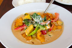 Thai Salmon Fish Curry with Pumpkin Royalty Free Stock Photo
