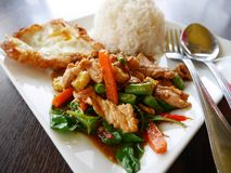Thai santed pork with chilli & Basil leaves Royalty Free Stock Photos