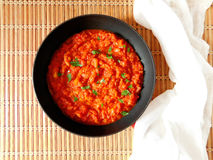 Thai sauce in a pan. Asian tomato sauce with shrimps in a pan stock photography