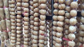 Thai Sausage ball at Thai Market. stock video footage
