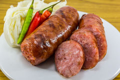 Thai sausage with Chilli and vegetables Stock Photos