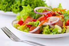 Thai sausage salad spicy-sour dressing. Thai fusion food sausage salad picy-sour dressing Royalty Free Stock Photos
