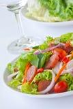Thai sausage salad spicy-sour dressing. Thai fusion food sausage salad picy-sour dressing Royalty Free Stock Image