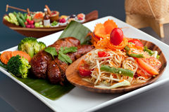 Thai Sausage and Som Tum Royalty Free Stock Image