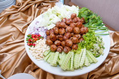 Thai Sausage Style, Sausage Northeastern Style served in a dish with side dishes Stock Photos