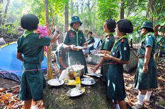 Thai Scouts. CHUMPHON,THAILAND February 15-17: Boy Scouts of Muanglangsuan school camping activities trip of the year 2012.On February 15-17,2012 in Chumphon stock photos