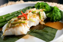 Thai Sea Bass with Asparagus Stock Images