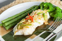 Thai Sea Bass with Asparagus Royalty Free Stock Images
