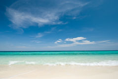 Thai sea : White sand beach and blue sky Royalty Free Stock Image