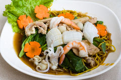 Thai seafood noodle Royalty Free Stock Images