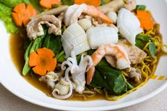 Thai seafood noodle royalty free stock photography
