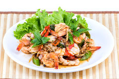 Thai seafood salad spicy Royalty Free Stock Photos