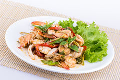 Thai seafood salad spicy Stock Photos