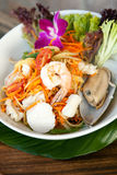 Thai Seafood Som Tum Salad. Traditional dish of freshly prepared Thai food.  Thai seafood and som tum green papaya salad Stock Photos