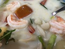 Thai seafood soup Tom Yam closeup, national food stock images