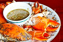 Thai seafood, steamed crab with spicy sauce 2 Royalty Free Stock Photo