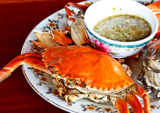 Thai seafood, steamed crab with spicy sauce 3 Royalty Free Stock Photography