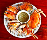 Thai seafood, steamed crab with spicy sauce 5 Royalty Free Stock Images