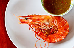 Thai seafood, steamed prawn with spicy sauce Royalty Free Stock Images